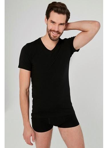 Penti Siyah Basic V Yaka Slim 2Li Tişört Siyah